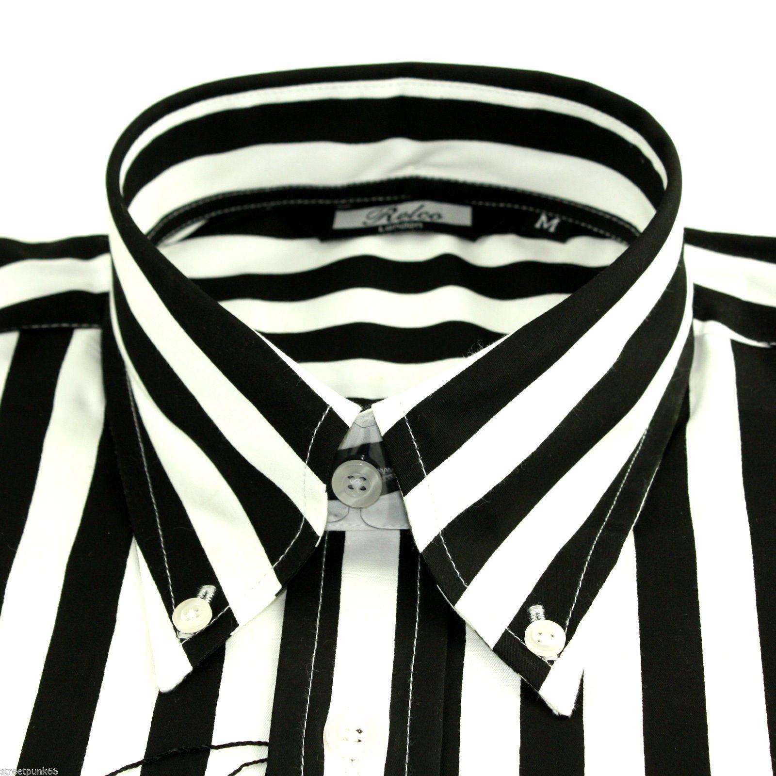 45a59de99b8a Relco Mens Black White Striped Long Sleeved Shirt Mod Skin Retro Indie 60s